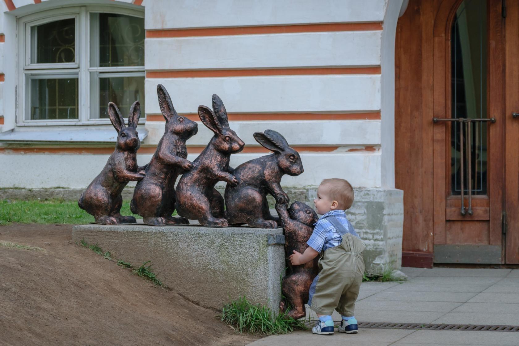 Мальчик помогает зайчику